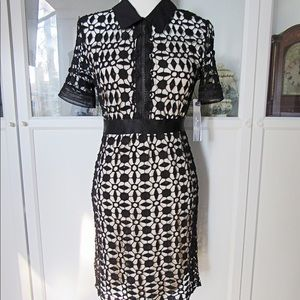 NWT AQUA Black & Tan Lace Short Sleeve Midi Dress